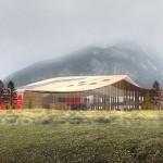 Siège mondial de Rossignol ; un toit comme un paysage de montagne