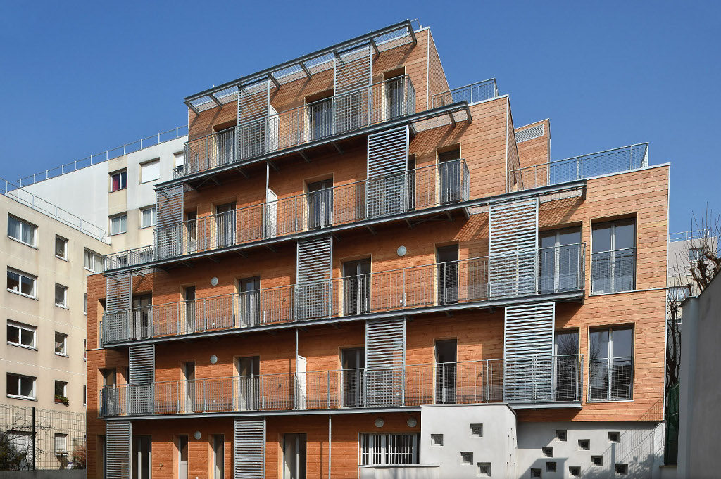 Rue des ardennes paris xixe des logements en structure for Immeuble bureaux structure bois