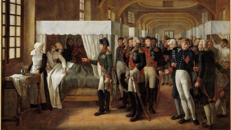 Napoléon Ier visitant l'infirmerie des invalides - 11 février 1808 @Domaine public