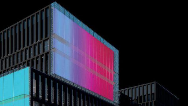 L'«œuvre de lumière», de Nathalie Junod, permanente en façade à Austerlitz