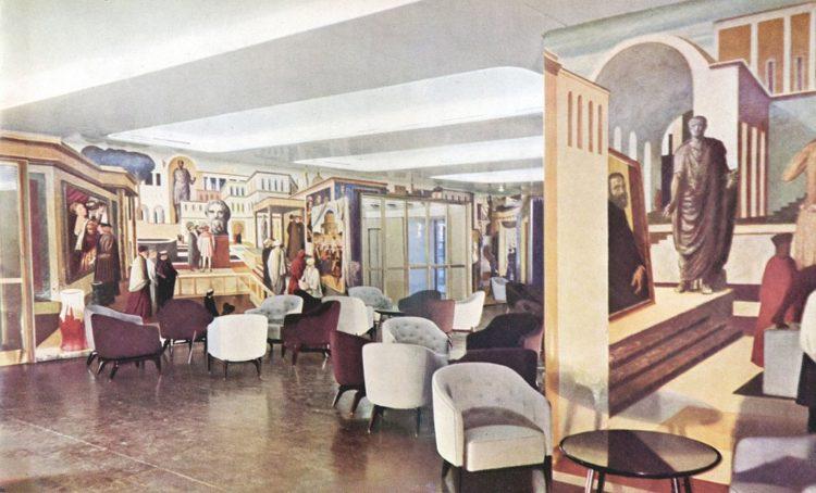 Paquebot transatlantique « Andrea Doria », salon principal de la première classe, 1952