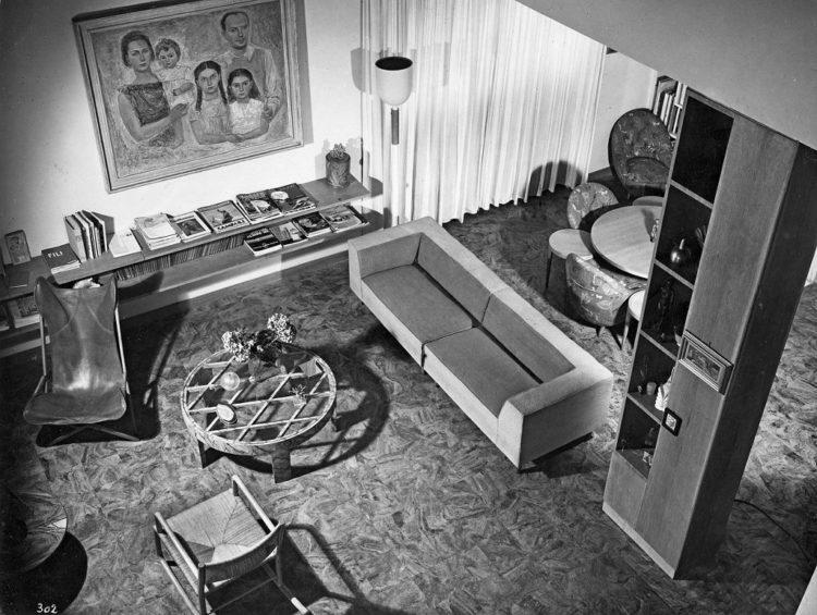 Intérieur de l'appartement familial de Gio Ponti, maison Laporte, Milan 1936