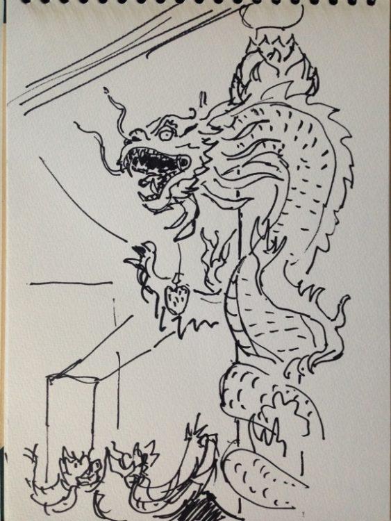 Dragon devant un temple. Bangkok Manuel Tardits