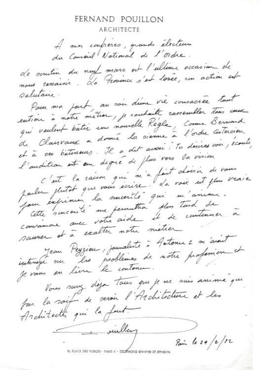 lettre Fernand Pouillon