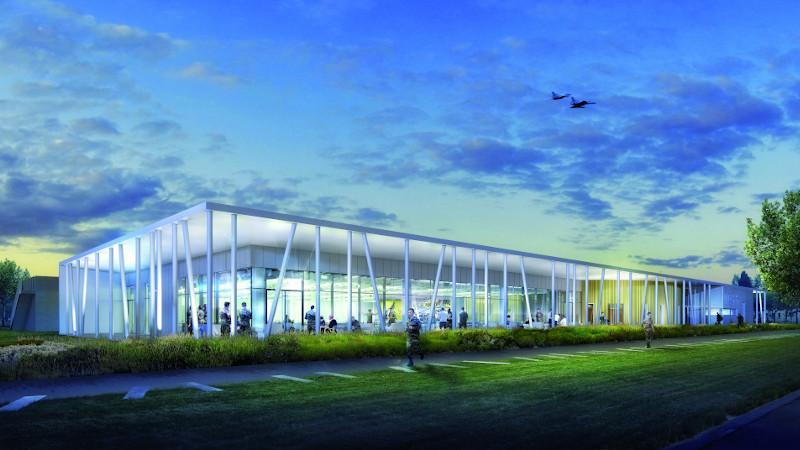 Nouveau mess de l'armée de l'air à Orange pour Atelier 5 Architectes