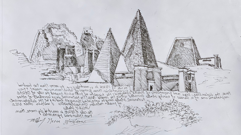 Les pyramides de Méroé, Soudan, croquées avant d'être croquées